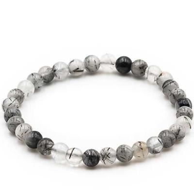Bracelet boule 06mm cristal de roche tourmaline 2