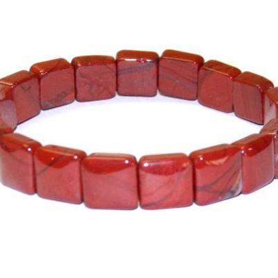 Bracelet carre jaspe rouge
