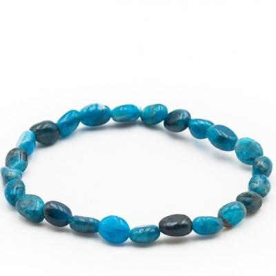Bracelet pierre roulee apatite bleue 1