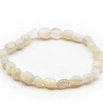 Bracelet pierre roulee pierre de lune beige