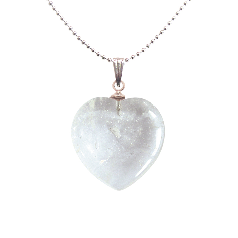 Coeur pendentifs mineraux cristal de roche
